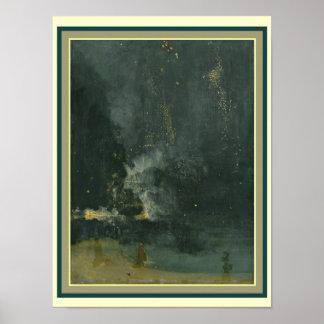 Nocturne in Black & Gold: Falling Rocket 12 x 16 Poster