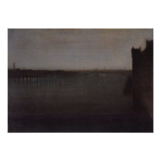 Nocturne in grey and gold by Whistler Poster