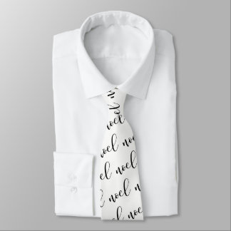 Noel | Black and White Christmas Script Tie