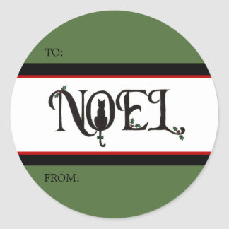 Noel Cat Gift Tag Stickers