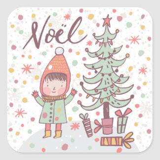 Noel Child Square Sticker