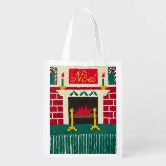 Noel Christmas Brick Fireplace Crochet Print on Reusable Grocery Bag