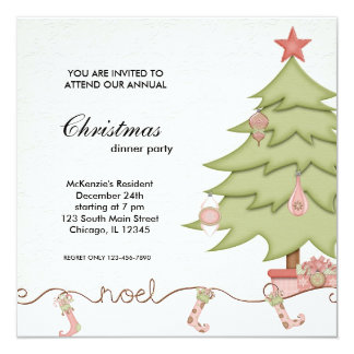 Noel Christmas Dinner 13 Cm X 13 Cm Square Invitation Card