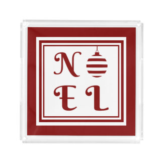 NOEL Christmas Holiday Red And White Bauble Acrylic Tray