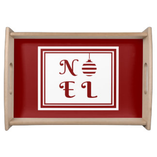 NOEL Christmas Holiday Red And White Bauble Serving Tray