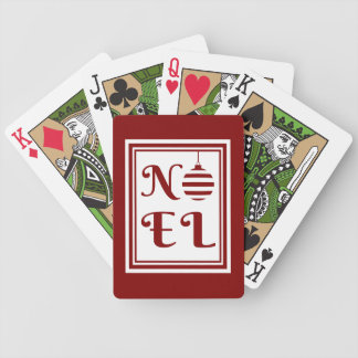 NOEL Christmas Holiday Red And White Bicycle Playing Cards