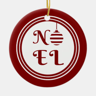 NOEL Christmas Holiday Red And White Ceramic Ornament