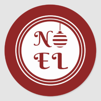NOEL Christmas Holiday Red And White Classic Round Sticker