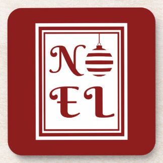 NOEL Christmas Holiday Red And White Coaster