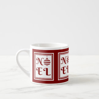 NOEL Christmas Holiday Red And White Espresso Cup