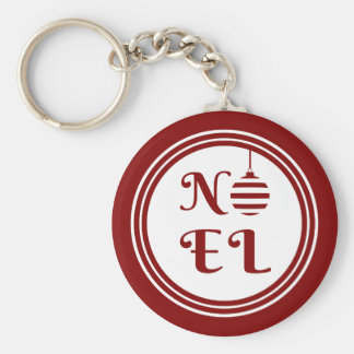 NOEL Christmas Holiday Red And White Key Ring