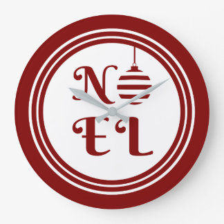 NOEL Christmas Holiday Red And White Large Clock