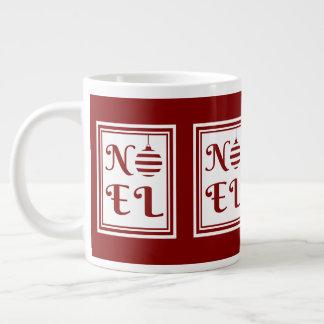 NOEL Christmas Holiday Red And White Large Coffee Mug