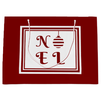 NOEL Christmas Holiday Red And White Large Gift Bag