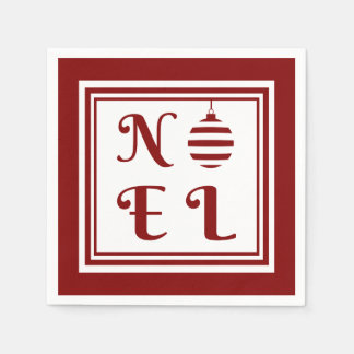NOEL Christmas Holiday Red And White Paper Napkin