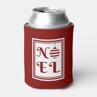 NOEL Christmas Holiday Red And White Personalize Can Cooler