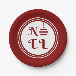 NOEL Christmas Holiday Red And White Personalize Paper Plate