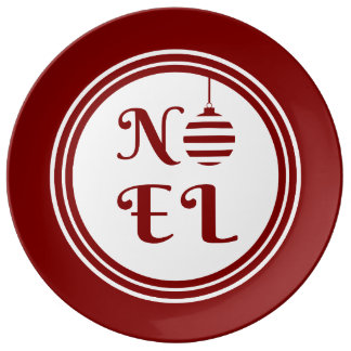 NOEL Christmas Holiday Red And White Plate
