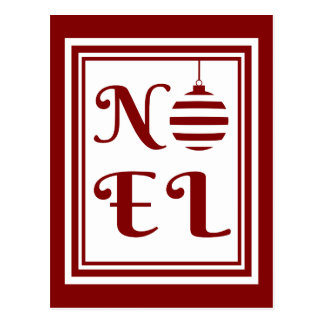 NOEL Christmas Holiday Red And White Postcard