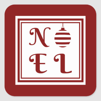 NOEL Christmas Holiday Red And White Square Sticker