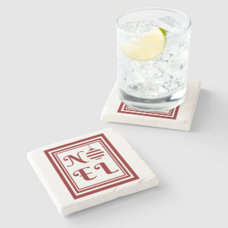 NOEL Christmas Holiday Red And White Stone Coaster