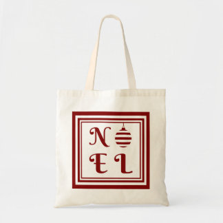 NOEL Christmas Holiday Red And White Tote Bag