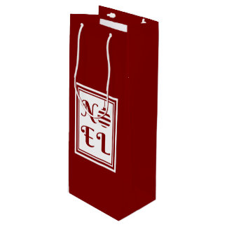 NOEL Christmas Red & White Personalized Wine Gift Bag