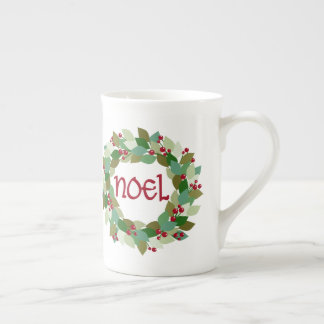 Noel Christmas Wreath | Festive Tea Cup