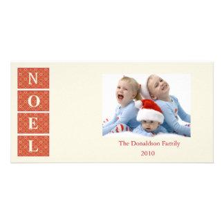 Noel Custom Holiday Photo Card (cream/red)