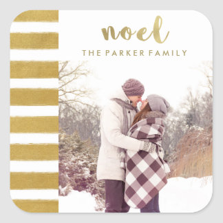 Noel Faux Gold Christmas Typography with Photo Square Sticker