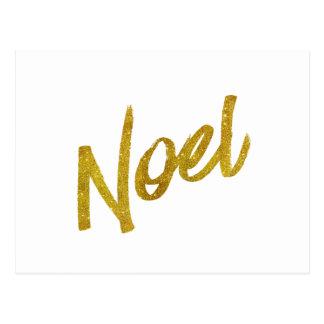 Noel Gold Faux Foil Metallic Glitter Quote Postcard