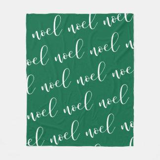 Noel   Green Christmas Script Fleece Blanket