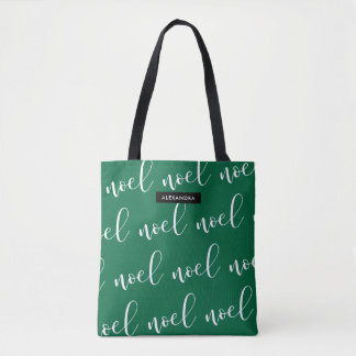 Noel | Green Christmas Script with your Name Tote Bag