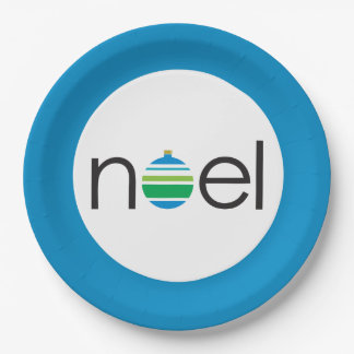 Noel Greeting Blue and Green Ornament Christmas Paper Plate