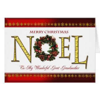 Noel greetings for Great Grandmother Greeting Card