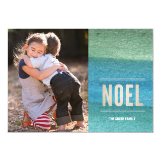 NOEL & Hand painted watercolor Paper Holiday Card