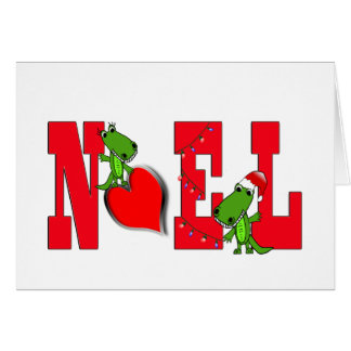 Noel Heart Cute Alligator Card on white