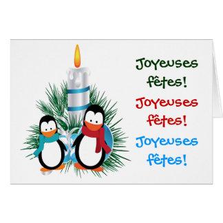 Noël manchots et bougie cartes card