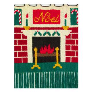 Noel Mantle Holiday Brick Fireplace Crochet Print Postcard