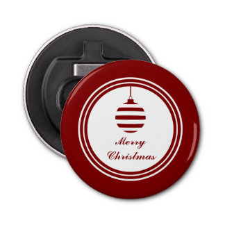 NOEL Merry Christmas Holiday Bauble Red And White Bottle Opener