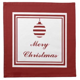 NOEL Merry Christmas Holiday Red And White Bauble Napkin