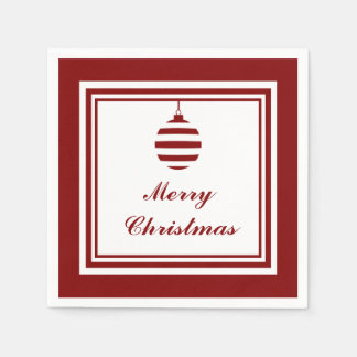 NOEL Merry Christmas Holiday Red And White Bauble Paper Napkin