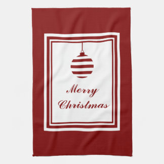 NOEL Merry Christmas Holiday Red And White Bauble Tea Towel