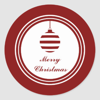 NOEL Merry Christmas Holiday Red And White Classic Round Sticker