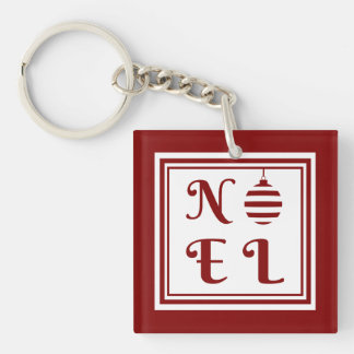 NOEL Merry Christmas Holiday Red And White Key Ring