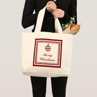 NOEL Merry Christmas Holiday Red And White Large Tote Bag