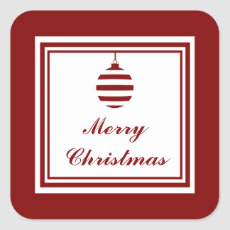 NOEL Merry Christmas Holiday Red And White Square Sticker