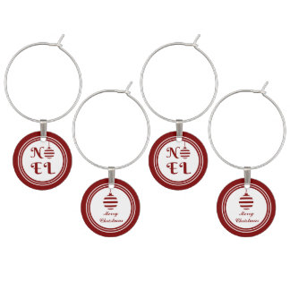 NOEL Merry Christmas Holiday Red And White Wine Charm