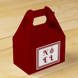 NOEL Merry Christmas Red & White Personalize Favour Box