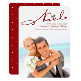 Noel Mistletoe First Christmas Wedding Photo Card